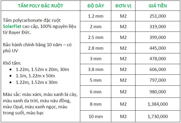 Bảng giá tấm polycarbonate đặc ruột mới nhất